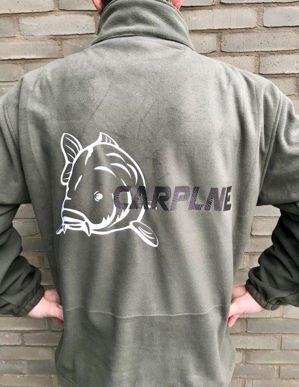 Groene fleece vest achterkant