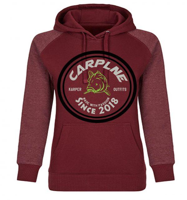 nieuwe dames hoodie bordeaux logo olijf