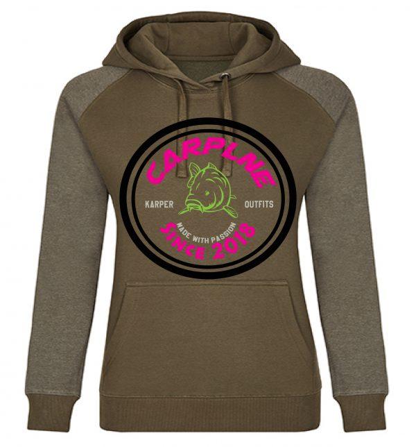 nieuwe dames hoodie olijf logo hotpink