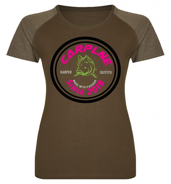 Dames tshirt olijf retro logo hotpink